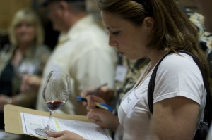 Anne taking notes at the Qupé 13 year vertical tasting (photo credit: Michael Wilsker pixillusion.com)