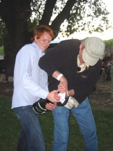 Peter and Tom Stolpman were eventually able to pop the cork.