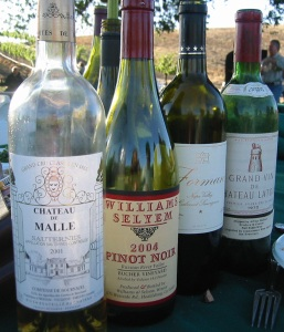 Some of the wines that John pulled from his cellar for the party.