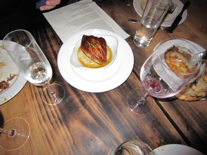 Foie gras, biscuit, maple sausage gravy
