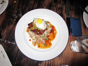 Foie gras loco moco quail egg spam hamburger