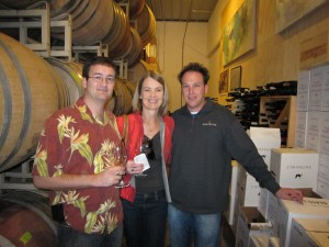Jason, Pamela and Tony in the barrel room at Margerum Wine Company
