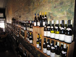 wall of wine at La Buvette