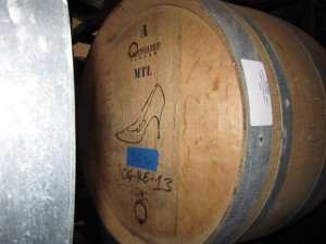 Barrel of Cold Heaven 2009 Le Bon Climat Vineyard Viognier marked with a high heeled shoe