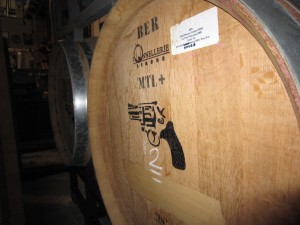 Barrel of Cold Heaven 2009 La Vina Vineyard  Viognier marked with a pistol symbol