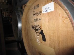 Barrel of Cold Heaven 2009 La Vina Vineyard  Viognier marked with a pistol symbol