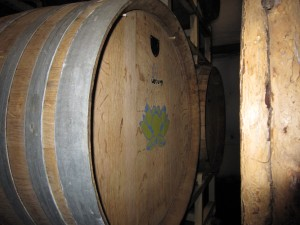 Barrel of wine at Cold Heaven marked with lotus symbol