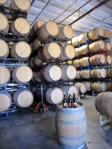 Tasting in the barrel room