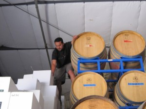 Edgar risking life and limb to find us a couple bottles of his La Guerra white wine