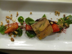 Foie gras terrine with strawberries and toasted nuts. Crazy good!