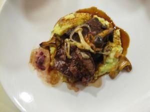 Beef short ribs and filet mignon with Shiitake mushrooms