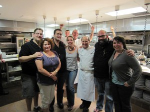 Chef Bradley Ogden (center) Johnny Church hamming it up in the back.